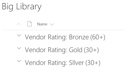 Grouped by rating view without folders at root over 5000 items overall
