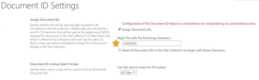Document ID Settings