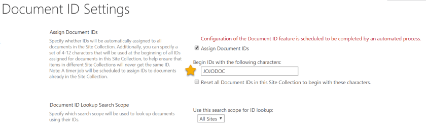 Document ID Settings