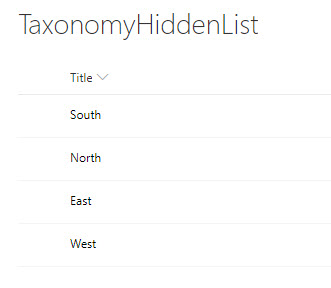 Taxonomy Hidden List before change
