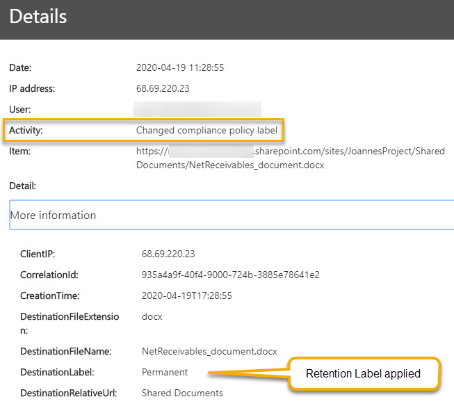 Compliance Tag in Audit log