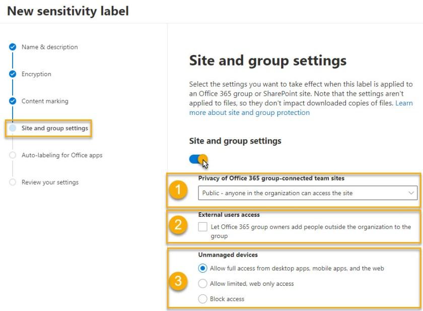 Define sensitivity label controls