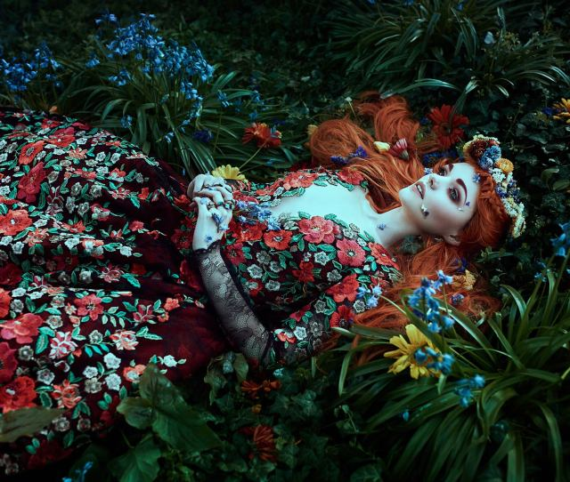 A Red Haired Ophelia In The Garden Of Eden Fantasy Floral Photo Shoot By Bella