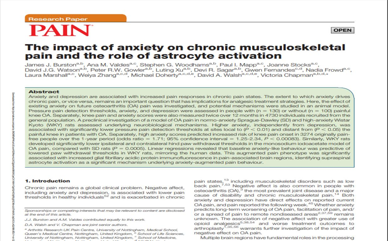 Anxiety and Asctrocyte Pain Journal Abstract Screenshot