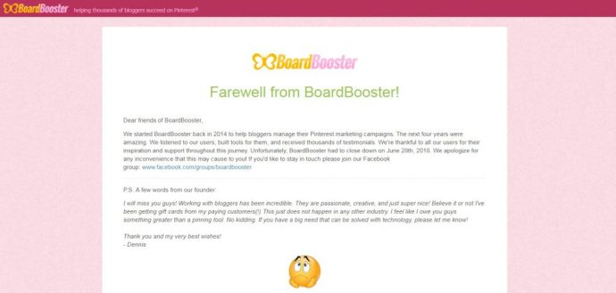 BoardBooster shut down