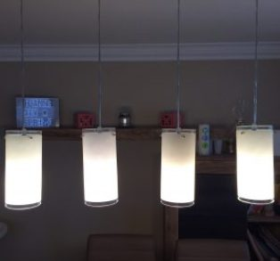 "4 glass lampshades ""before"""