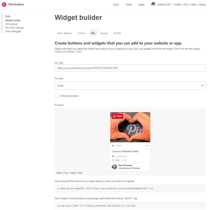 Pinterest Developers Widget builder Pin Button auf eigener Website einfügen