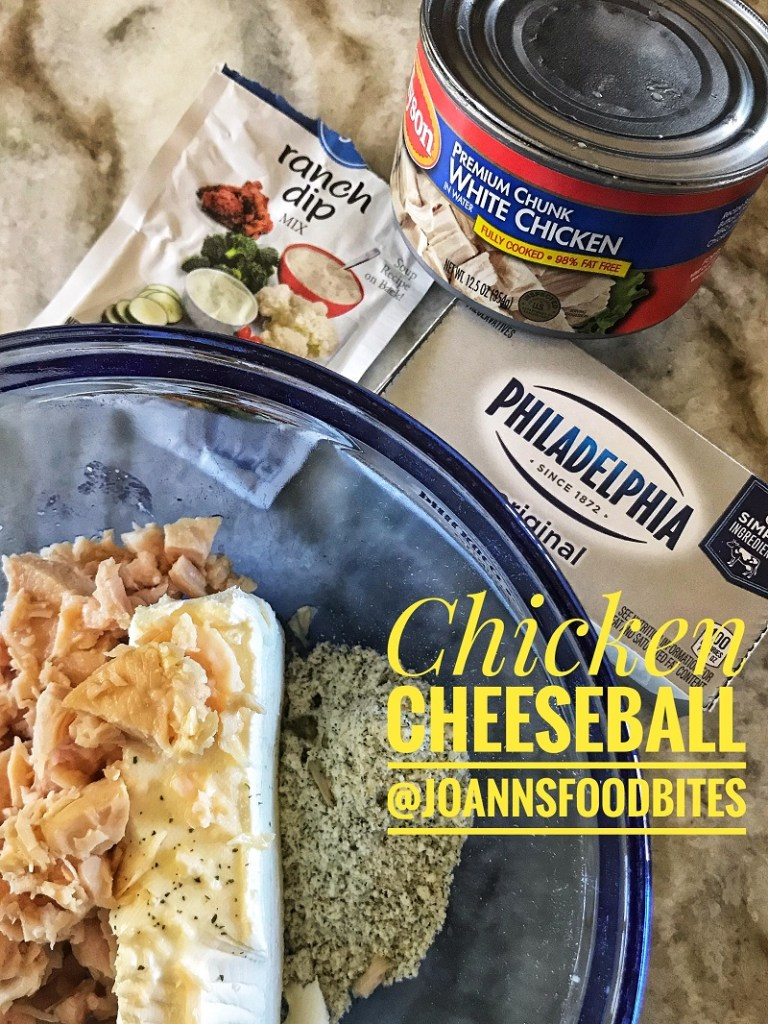 ingredients for an easy chicken cheeseball recipe