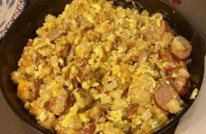 cooking eggs in breakfast brunch scramble