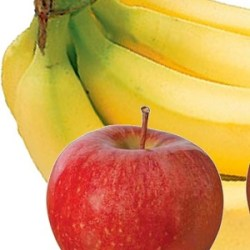 one apple and a bunch of bananas