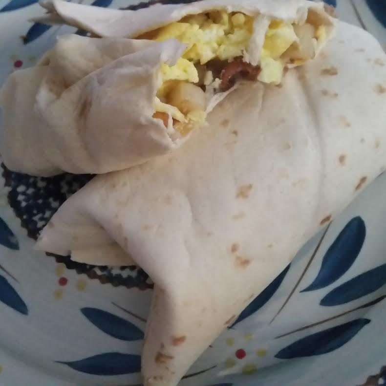 Finished Empty the Fridge Breakfast Burrito