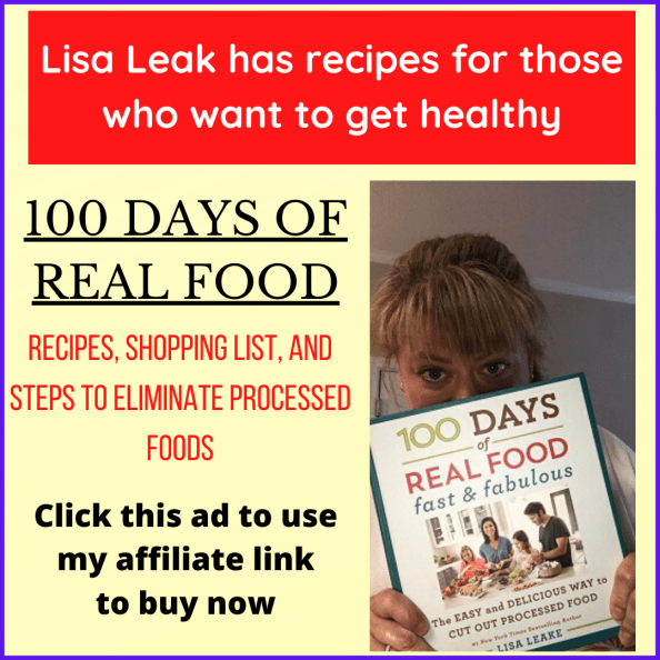 ad for 100 days of real food cookbook
