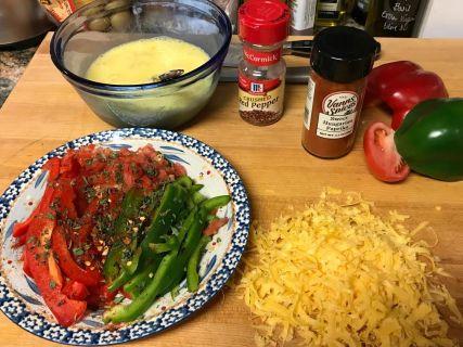 ingredients for pepper and egg brunch