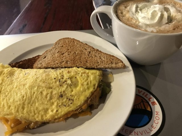Mocha coffee and classic omelette at Coffee Underground Greenville