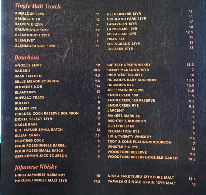 scotch bourbons Terrace Restaurant
