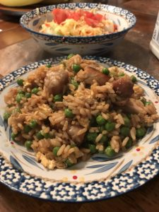 Pork and Rice Asian simple dinner