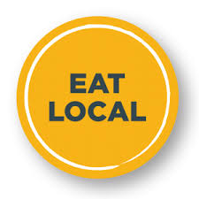 eat local sign with yellow background