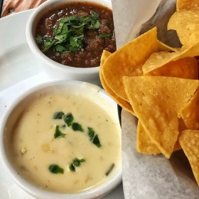 Chips Queso Dip and Salsa with tortilla chips