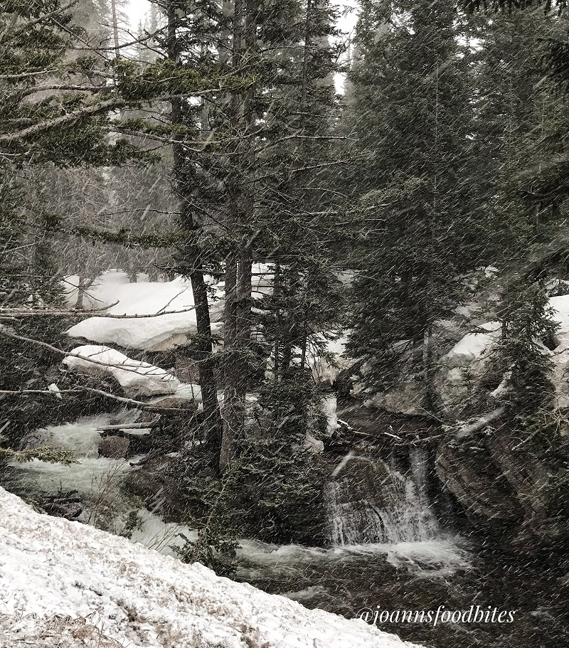 Snow covered waterfall next to the road in route to Alta ski resort