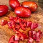 chopped and whole fresh Roma Tomatoes