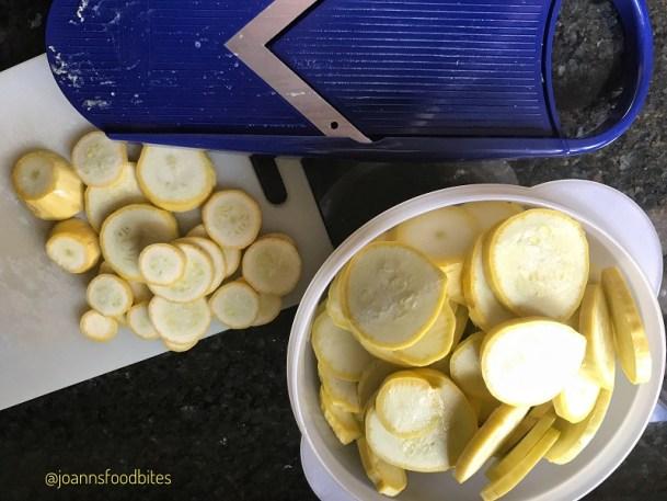Mandolin slices of summer squash