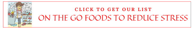 Promotional banner for on the go foods to reduce stress