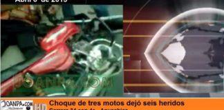 Choque de tres motos dejó seis heridos en la carrera 34 con 4ª de Aguachica