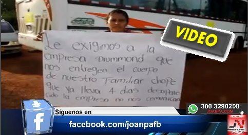 Familiares y amigos de GERMAN DARIO GARCÍA ARAQUE bloquean entrada y salida de Buses de drummond