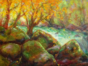 Image of an oil painting of a riverside scene, with mossy rocks and trees with gold Autumn foliage
