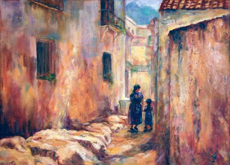 Image of an oil painting of a woman and a child walking hand in hand through an adobe village in Guatemala. Painted after Clark Hulings