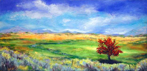 Red Tree by Gazelle, oil painting by Joan Pechanec