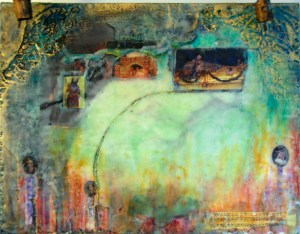 Semana Santa, Encaustic/mixed media painting by Joan Pechanec