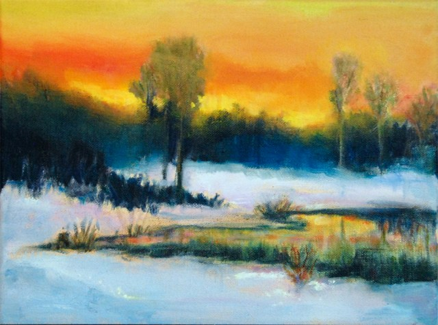 Sunset on Snow, oil painting by Joan Pechanec