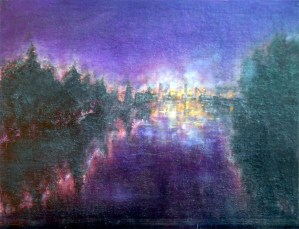 Willamette River at Night, oil painting by Joan Pechanec