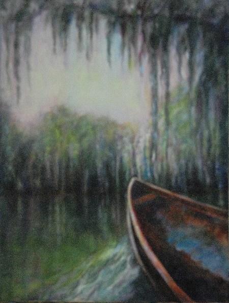 Rowboat in Swamp, Original oil painting by Joan Pechanec
