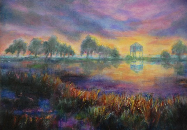 Marshland Sunset, Original oil painting by Joan Pechanec
