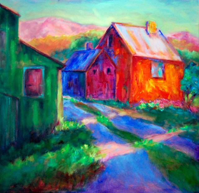 Edgewood Afternoon, Image of 20x20 original oil painting of colorful buildings in a country scene by Joan Pechanec, Mt Shasta, CA, 2014.