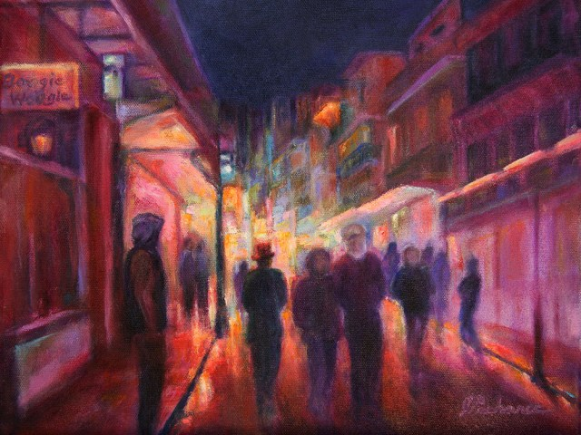 Image of an oil painting of Bourbon Street, New Orleans, by artist Joan Pechanec