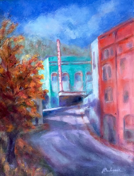 Original oil painting of a California Theater, by artist Joan Pechanec California Theatre Oil on Canvas 12x16 unframed 18x22 framed $325