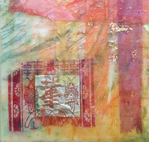 Chinese Abstract, encaustic on wooden panel, 6x6, $125 by Joan Pechanec