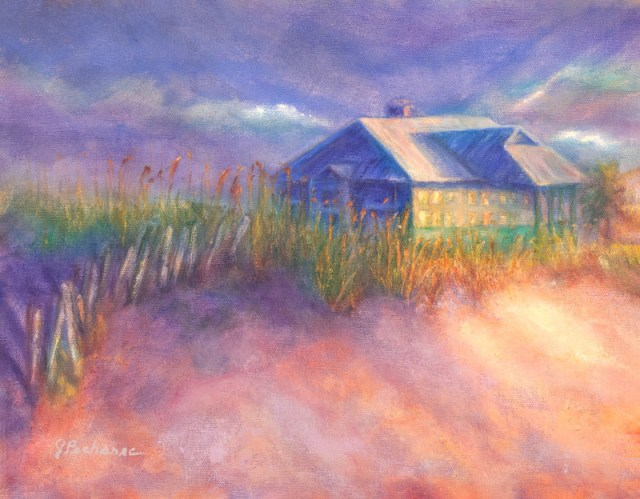 """Florida Beach House, original oil painting by Joan Pechanec. Oil on Canvas 14"""" x 11"""" unframed 19"""" x 16"""" framed $375 I was taking a walk at sunrise on a beach outside Pensacola, Florida. The morning light was shining on the windows of a house set above the dunes, making it look like they were lit from within. I tried to capture the image from memory."""
