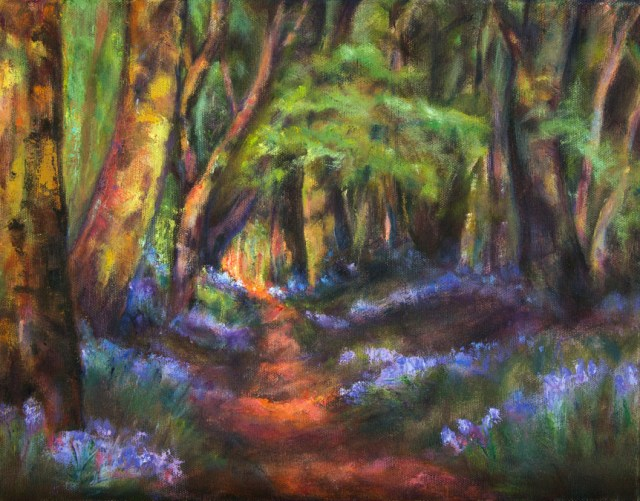 Forest Pathway, image of an oil painting of a forest path with purple flowers lining the pathway, by artist Joan Pechanec