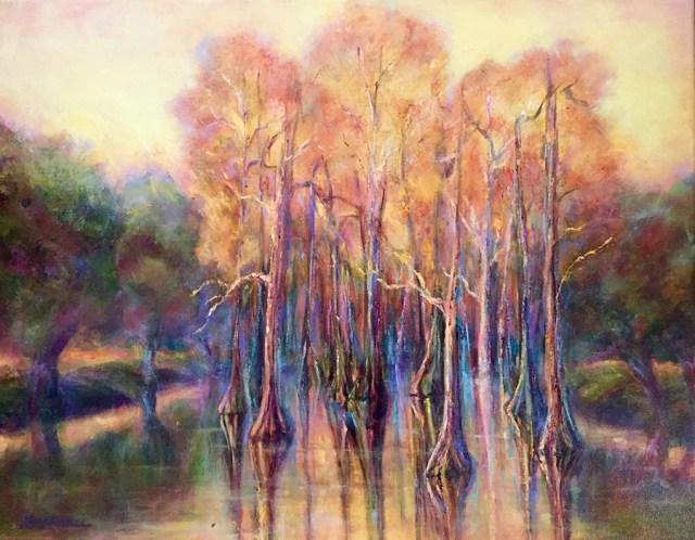 "Original oil painting by artist Joan Pechanec. Louisiana Cypress Pond II, oil on canvas, 20"" x 16"", $475"