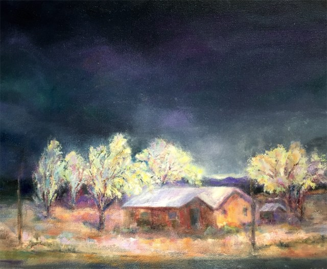 On Route 66, painting by Joan Pechanec. Original oil painting of a house on Route 66 in California at night by artist Joan Pechanec On Route 66 Oil on Callery-wrapped Canvas 11x14 $225 I took a photo of this scene on old Route 66 from the car. I love the color of the storm-clouded sky and the light cast on the stucco bungalow.