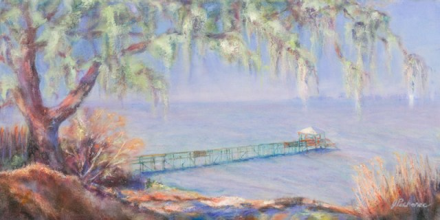 Original oil painting of a pier in Fairhope, Alabama by artist Joan Pechanec