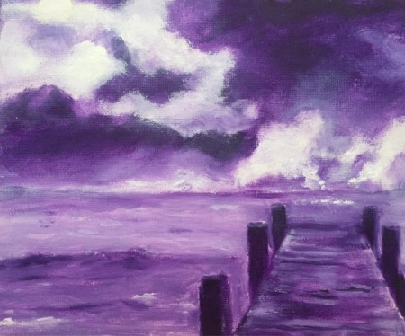 Monotone purple oil painting of a pier by artist Joan Pechanec. Purple Pier Oil on Canvas Board 9x12 unframed 14x17 framed $175 This is a stylized version of an old pier on the Gulf Coast where I did my morning yoga.