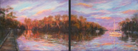 Image of an oil painting of a cove on the gulf coast at sunset by artist Joan Pechanec. Two separate images for each of two paintings in a diptych with beautiful sunset sky Diptych: Sunset on Cove Oil on Gallery-wrapped Canvas 2 paintings, each 11x14 $550 for both We saw this stunning evening scene on a cove in Josephine, Alabama. The boat and groves of trees were lit up in the neon evening light.