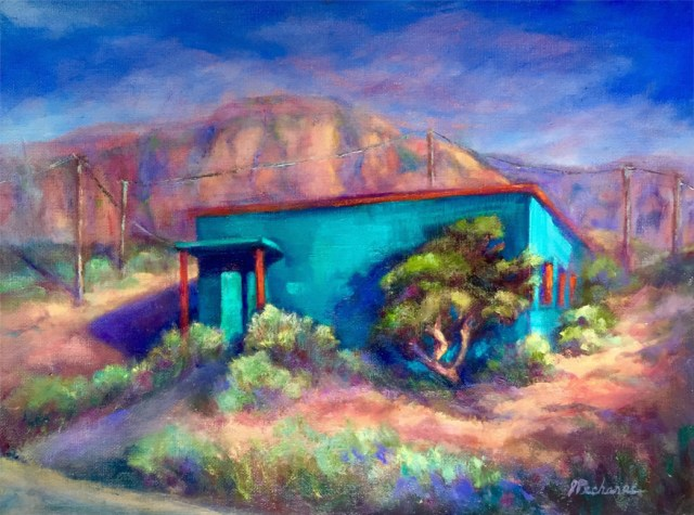 Turquoise House, El Paso, painting by Joan Pechanec. Original oil painting of a turquoise house in the desert by artist Joan Pechanec Turquoise House, El Paso Oil on Canvas Board 12x16 unframed 15 1/2 x 19 1/2 framed $325