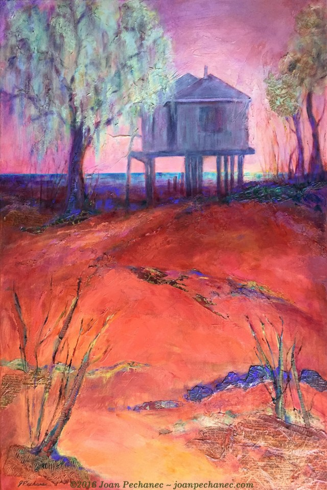 House on the Bay, Mixed Media by Joan Pechanec, 24 x 36 $550 This large mixed media piece consists of layers of papers, acrylic paints, and oil paints. I wanted to create a semi-abstract effect, emphasizing the varying textures, the warm colors, and the misty light on the water. I was particularly interested in the negative spaces of the land. This painting was inspired by the gorgeous light and the evocative mood of the houses on stilts on the Gulf Coast of Alabama. I fell in love with this area during the 3 winters my husband, Charlie Price, was writer-in-residence in Fairhope, Alabama, a unique old Utopian town in the South.