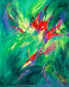 Jungle Light, Original Oil Painting by Joan Pechanec, 16 x 20 $325 I was interested in creating an abstract painting which suggested the light coming through dense foliage onto vibrant jungle flowers. Or maybe it is light coming through an underwater green pool? I wanted the mood to be vague, ethereal, and open to the viewer's personal interpretation.